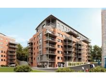 I 2013 ferdigstilte og overleverte NCC 55 energieffektive leiligheter i boligprosjektet Lilleborg C1 i Oslo. Illustrasjon: EVE Images