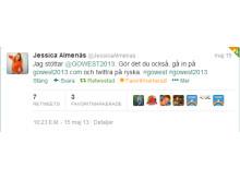 Jessica Almenäs twittrar om #GOWEST