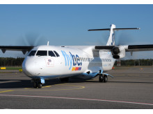 Flybe ATR-aircraft arriving to the gate