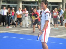 Timo Glock and Nishikori team up at ATP Promo