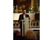 Elias Carlberg från Sveriges interreligiösa råd läste ett uttalande.