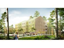 Skiss studentbostäder, Campus Umeå