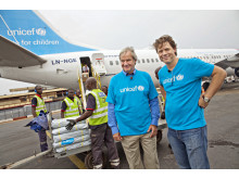 Norwegian's CEO Bjørn Kjos and Secretary General Bernt G. Apeland of UNICEF Norway in Bangui