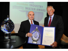 Netafim receives the 2013 Stockholm Industry Water Award from Peter Forssman, Chairman of Stockholm International Water Institute