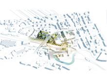 Illustration av idéerna för framtidens campus i Borås (hu)