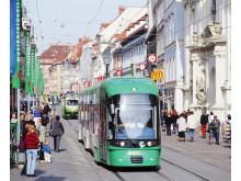 FLEXITY spårvagn i Graz, Österrike