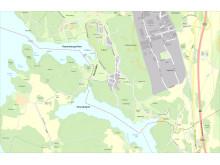 Oxundasjön och rosersbergsviken förbinds av oxundaån