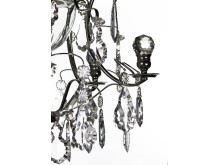 Detalj Badrumskristallkrona förnicklad med handslipad kristall löv och kulor