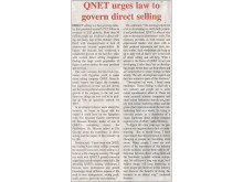 QNET Urges Law to Govern Direct Selling