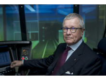 Sven-Christer Nilsson i körsimulatorn