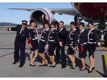 Norwegian's long-haul crew in front of the 787 Dreamliner