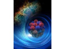 Nukleära byggstenar hos en atomkärna och neutronstjärnan i centrum av Krabbnebulosan