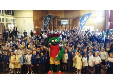 Atos and Commonwealth Games mascot, Clyde, visit pupils at Duddingston primary school