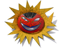 Stig Lindberg: Sol med gula strålar. 1960 c:a. Emalj på plåt