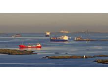 Många fartyg i Göteborgs Hamn