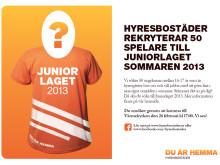 Vi söker 50 spelare till Juniorlaget sommaren 2013.