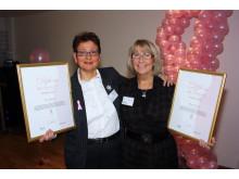 Aina Johnsson och Maud Svensson, vinnare av BROs utmärkelse 2010