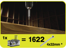 Ryobi 18V ONE+ 5,0 Ah Lithium+ käyttöaika