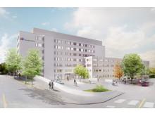 Vy över huvudentrén på Nya Södertälje sjukhus