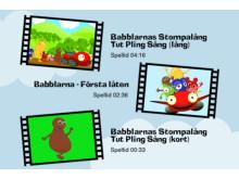 """Välj video i Babbapp - """"Första låten"""" och """"Stompalång Tut Pling sång"""""""