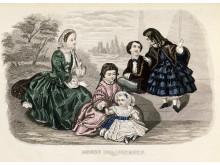 Illustration ur Stockholm modejournal 1855, Nordiska museet.