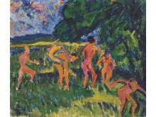 Badende am Waldteich/Badende ved skogtjern, 1910, olje på lerret av Erich Heckel