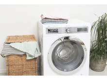 Tvätthög och tvättmaskin