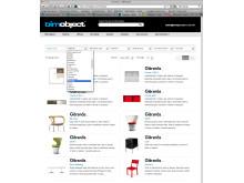 Möbeltillverkaren Gärsnäs lägger upp produkter på BIMobject portalen - skärmbild