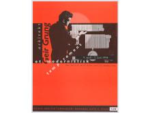 Arkitektur på museum. Arkitekt Geir Grung – et modernistisk temperament (1994). Utstillingsplakat, design: Reidar Holtskog.