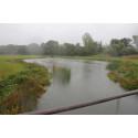 Her ses et af havens regnvandsbassiner, som på dagen var i fuld funktion pga. vejrliget.