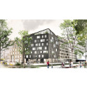 Visionsbild, gatuvy över Diligentias Woodhouse Rosendal, Uppsala