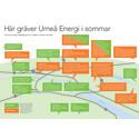 Projektkarta: här gräver Umeå Energi under sommaren och hösten