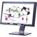 Tobii Dynavox Explore, a peripheral eye tracker mounted on a desktop computer