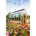 Planthouse i cederträ på tegelbröstning