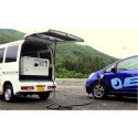 A mobile charging station equipped with a Toshiba SCiB™ secondary battery that will make life easier for EV owners
