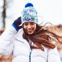 Falun light knit hat with pompom, Falun down jacket
