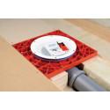 Röd Monteringsplatta för installation av golvbrunn i träbjälklag