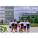 Gänget hälsar på sponsorn CGM och ABB i Houston