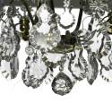 Badrumskristallkrona polerad mässing med handslipad kristall löv och blommor