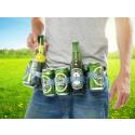 Justerbart bälte med 6 st. hållare för ölflaskor och burkar