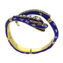 Smyckekvaliten 28 november, Nr: 201, ANTIK ARMRING, 18K guld, ledad orm, blå emalj