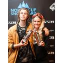 Ståle Sandbech og Silje Norendal ble tildelt kongepokalene for 2015, etter deres innsats i slopestyle. Foto: Preben Stene Larsen