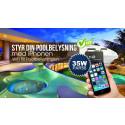 LED-Gallerians nya poolbelysning kan du styra från din Iphone genom Wi-Fi eller RF-kontroll