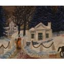 """Olle Olsson Hagalund, """"Vintermorgon stora Frösunda, 1960-tal, olja på duk"""
