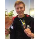 Final i SM för unga plåtslagare 2015: 2:a placerade Viktor Wahrenberg, Leksands gymnasium, Leksand.