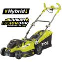 Uusi Ryobin® 36V Fusion™ hybrid ruohonleikkuri - ruohonleikkuri, jossa yhdistyy akkukäyttöisyyden sekä verkkovirran parhaat puolet.