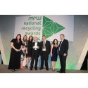 INNOVATION IN RECYCLING: Vicki Hughes, Karen Hall, Pamela Dickinson, Councillor Chris Gordan, Paul Whiting,waste minimisation officer for Rochdale Borough Council, Tina Harding, and awards host Hal Cruttenden