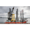 World's first offshore wind turbine jacket foundation with suction buckets installed