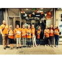 local college students volunteer for a day to help recruit walkers for ellenor Twilight Walk