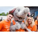 Tom Parker and Kelselt Hardwick with ellenor mascot Ellie